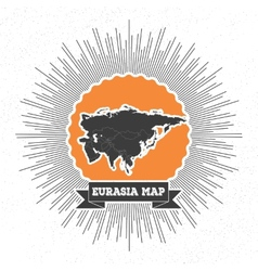 Eurasia map with vintage style star burst retro vector