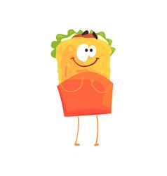 Funny shawarma cartoon fast food character vector
