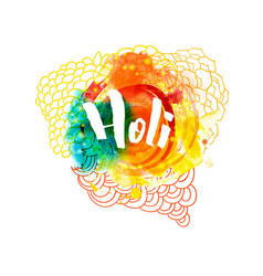Holi holiday greeting logo emblem vector