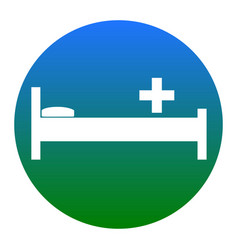 Hospital sign white icon in vector