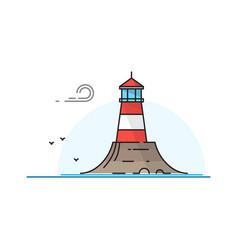 lighthouse landscape vector image vector image