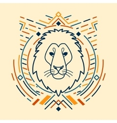 Lion head in frame vector image
