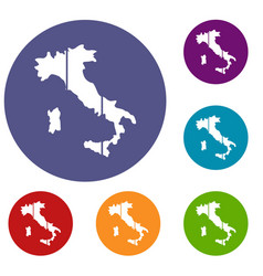 map of italy icons set vector image