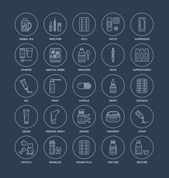 medicines dosage forms line icons pharmacy vector image