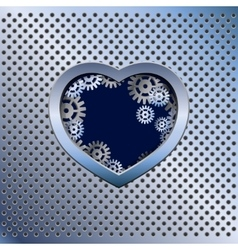 Metal light background with heart vector image vector image