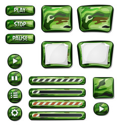 military camo icons elements for ui game vector image