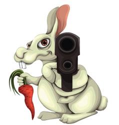Rabbit with a gun vector
