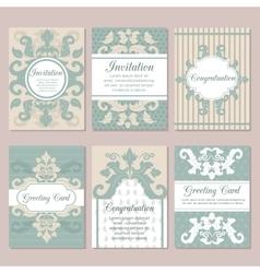 Set of wedding invitation card design flyer pages vector image