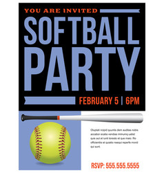 Softball party flyer invitation vector