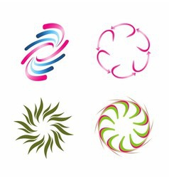 Spiral logo element set vector
