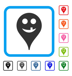 Tooth smiley map marker framed icon vector