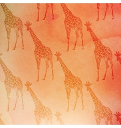 vintage of giraffes pattern on the watercolor vector image vector image