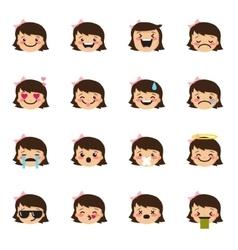 girl emoticons collection Cute kid emoji vector image