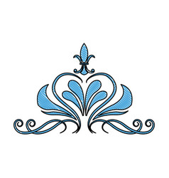 Blue floral swirl ornate vignette image vector
