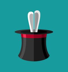 magic trick rabbit in hat magical cap and bunny vector image