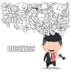 A happy face businessman on icon business doodles vector