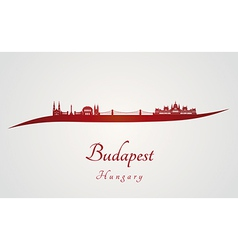 Budapest skyline in red vector