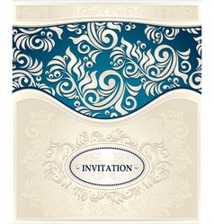 Invitation or Frame in dark blue and beige colors vector image