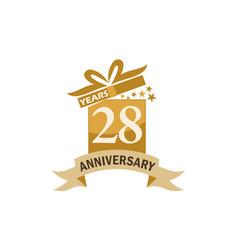 28 years gift box ribbon anniversary vector
