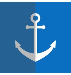 Flat white anchor on blue vector