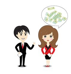 Business man and woman on white background vector
