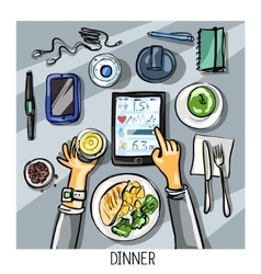 Top view background - person having dinner vector