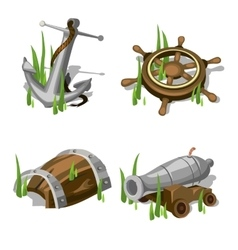 Anchor steering wheel gun and wooden barrel vector image