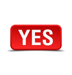 Yes red 3d square button isolated on white vector