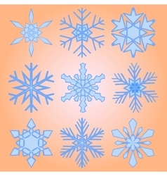 A set of nine snowflakes Christmas vector image vector image