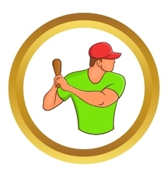 Baseball player with bat icon vector