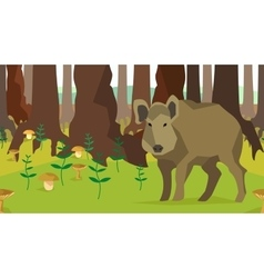 Boar in forest with trees fungus seamless vector