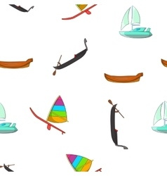 Boats pattern cartoon style vector image