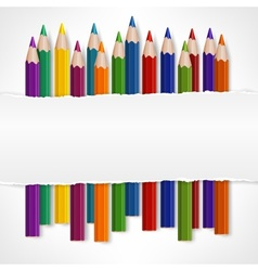 Color pencils and white torn vector image