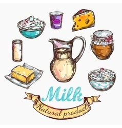 Cow and nature milk color sketch vector