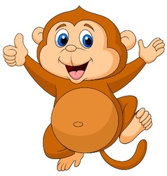 Cute monkey cartoon thumb up vector