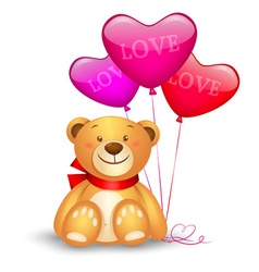 Cute teddy bear with in heart shape balloons vector image