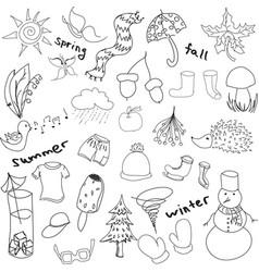 Drawn seasons stuff vector