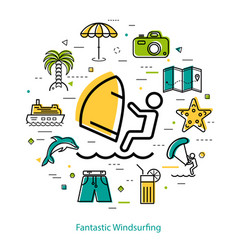 Fantastic windsurfing - round line concept vector