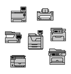 Grayscale printer icons vector image