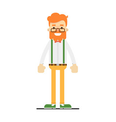 Happy redheaded bearded man character vector