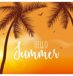 Hello Summer Lettering vacation and travel vector image vector image