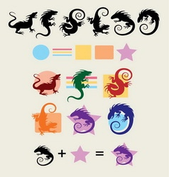 Iguana Silhouette Symbols vector image