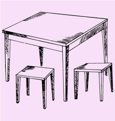 Kitchen table chairs vector