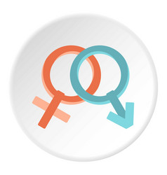 Male and female gender signs icon circle vector