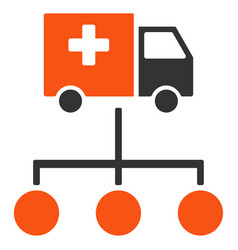 Medical delivery links flat icon vector