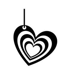 Monochrome silhouette of multiples hearts pendant vector