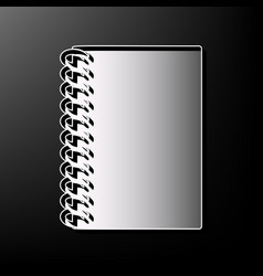 Notebook simple sign gray 3d printed icon vector