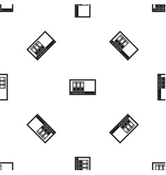 Office folders on the shelf pattern seamless black vector