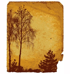 Old worn card with landscape vector