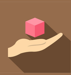 Pink cube 3d model icon flat style vector